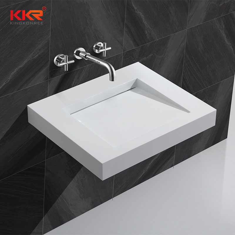 KingKonree Artificial Stone Acrylic Solid Surface Wall Mount Basin KKR-1330 Wall Mount Basin image45