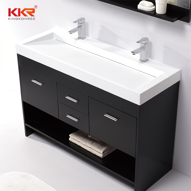 KingKonree Royal White Small Slope Design Solid Surface Cabinet Basin KKR-1264 Cabinet Basin image43