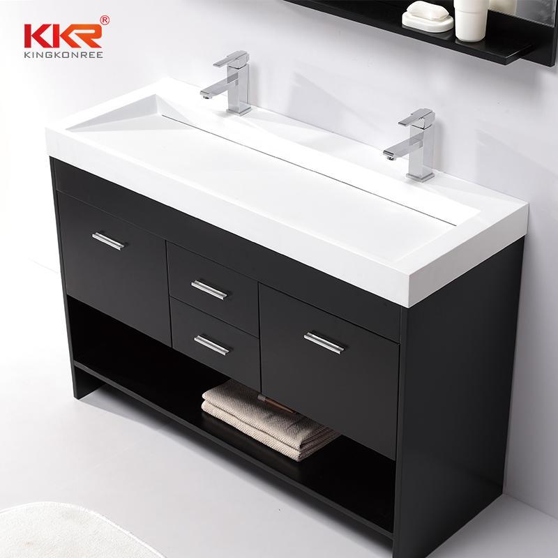 Royal White Small Slope Design Solid Surface Cabinet Basin KKR-1264