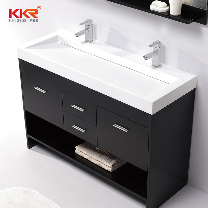 Lavabo de gabinete de superficie sólida Royal White Small Slope Design KKR-1264