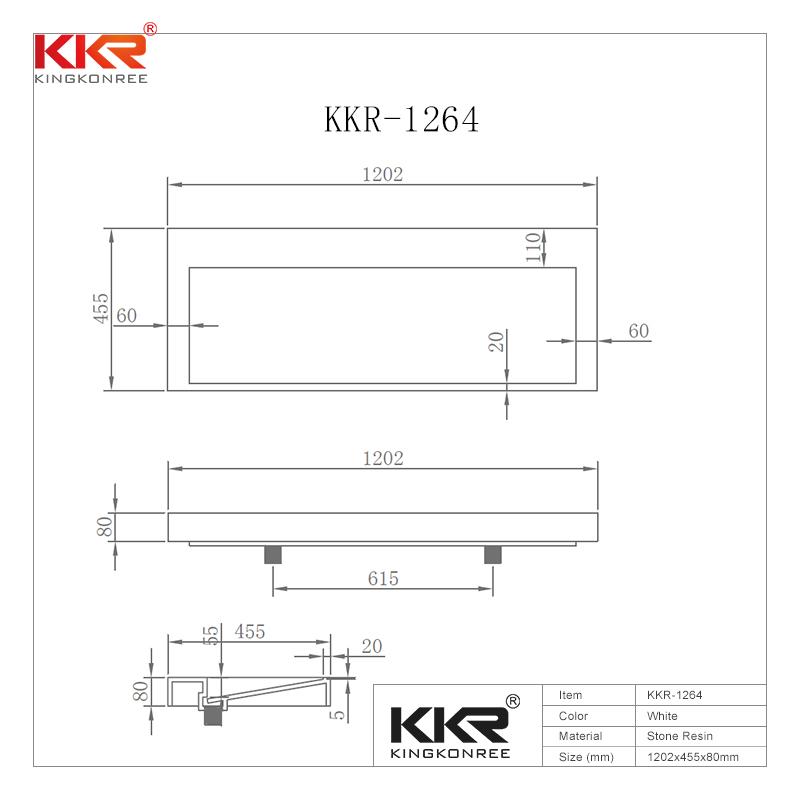 KingKonree Royal White Small Slope Design Solid Surface Cabinet Basin KKR-1264 Cabinet Basin image43