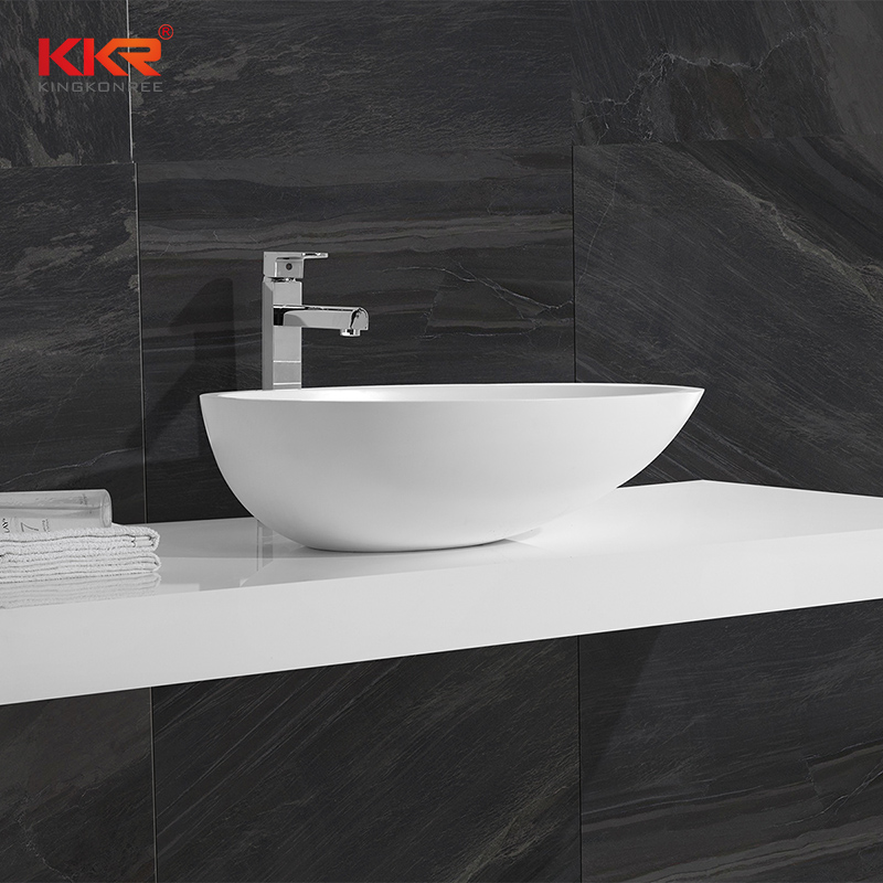 KingKonree High Quality Oval Shape Acrylic Solid Surface Above Counter Basin KKR-1310 Above Counter Basin image40
