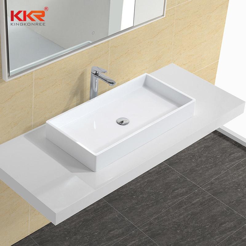 KingKonree Rectangle Acrylic Solid Surface Above Counter Basin KKR-1327 Above Counter Basin image39