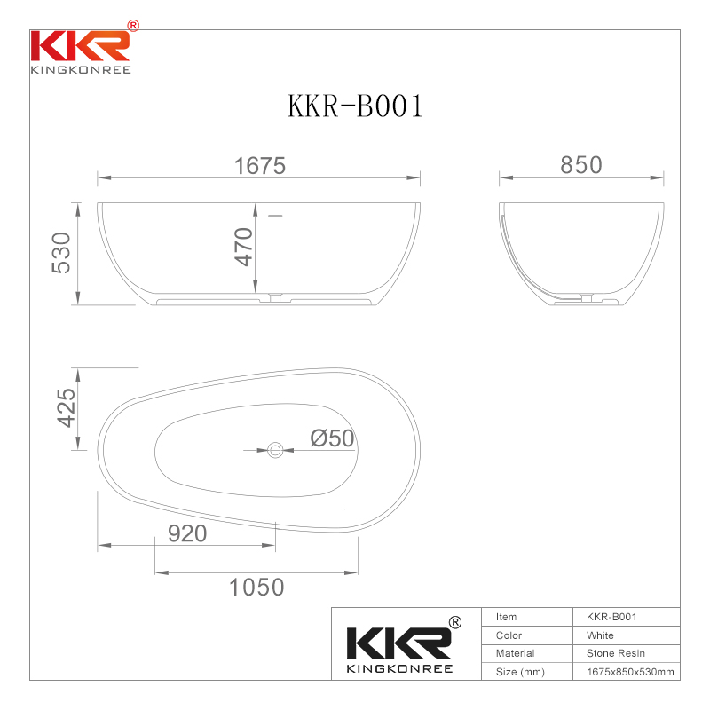 KingKonree Ellipse Oval Shape White Matt Solid Surface Bath Tub KKR-B001 Solid Surface Bathtub image37