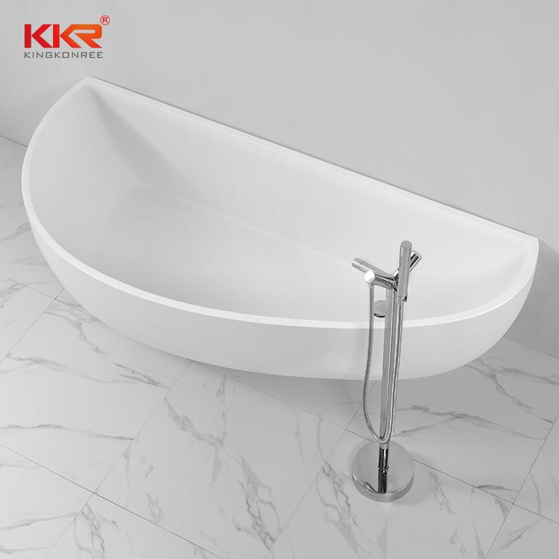 KingKonree China Supplier Acrylic Solid Surface Bathtub Against The Wall KKR-B004 Solid Surface Bathtub image33