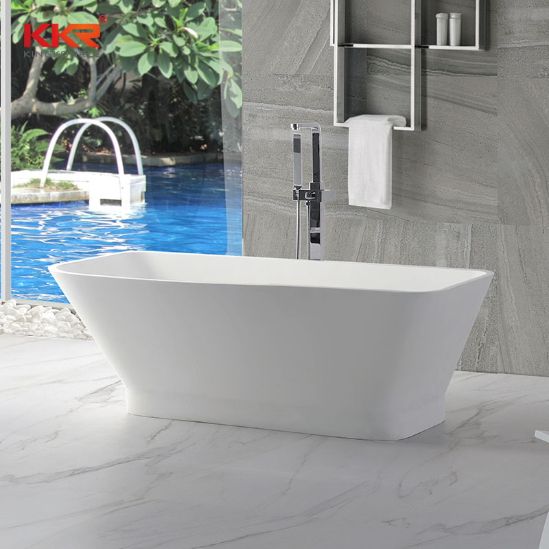 KingKonree Small Size Royal White Rectangle Solid Surface Bathtub KKR-B005 Solid Surface Bathtub image32