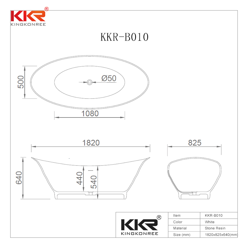 KingKonree High-End Solid Surface Bathtub With Oval Shape KKR-B010 Solid Surface Bathtub image28
