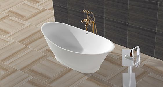 High-End Solid Surface Bathtub With Oval Shape KKR-B010-1