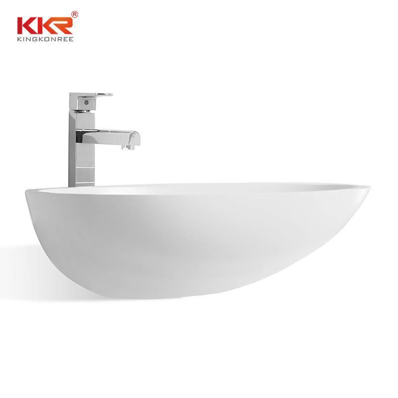 Superficie sólida acrílica con forma ovalada de alta calidad por encima del lavabo KKR-1310