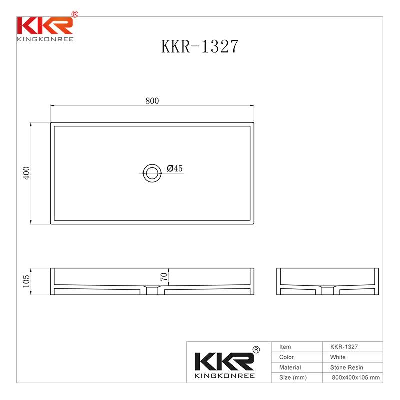 KingKonree Rectangle Acrylic Solid Surface Above Counter Basin KKR-1327 Above Counter Basin image39