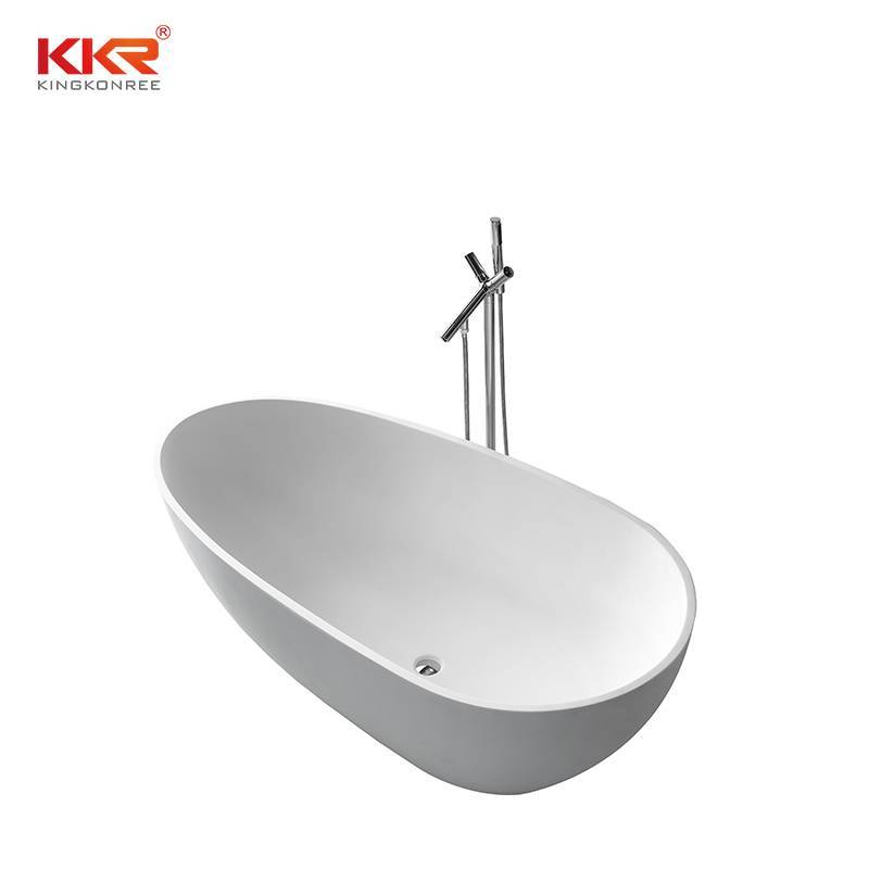 Ellipse Oval Shape White Matt Solid Surface Bath Tub KKR-B001