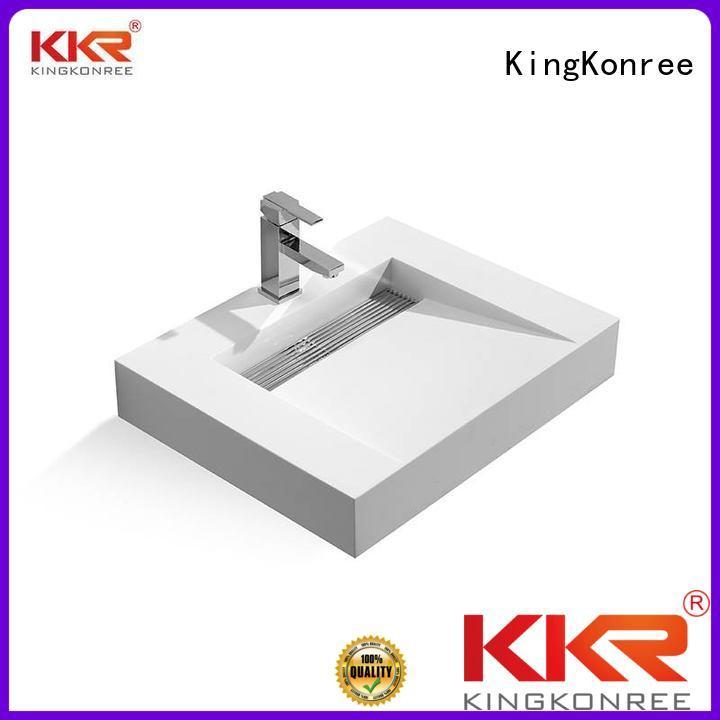 KingKonree Brand bath surface white wall mounted bathroom basin