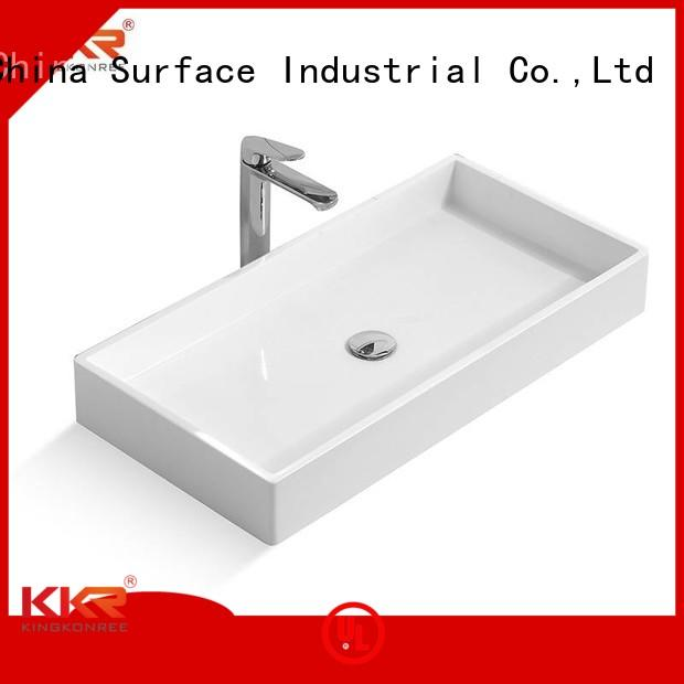 surface Custom oval shape above counter basins KingKonree countertop