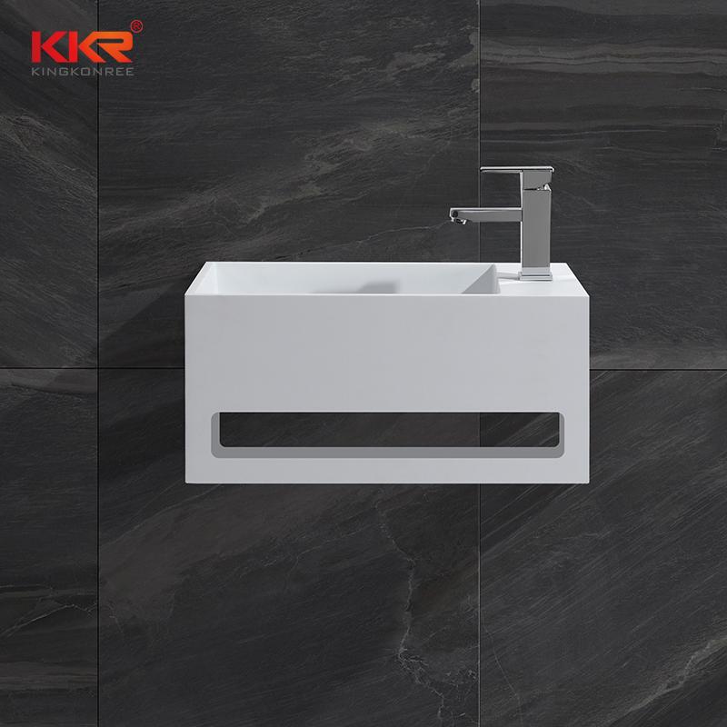 KingKonree Hot sales small size acrylic solid surface resin stone wall mounted wash basin with towel hanger KKR-1105-A Wall Mount Basin image20
