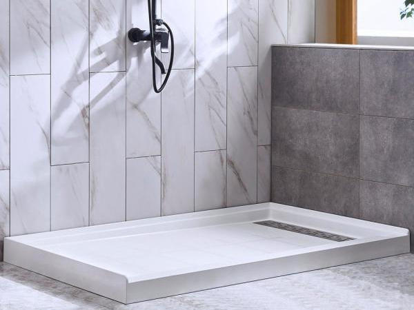 custom size shower tray, custom acrylic shower pan, solid surface shower base manufacturers