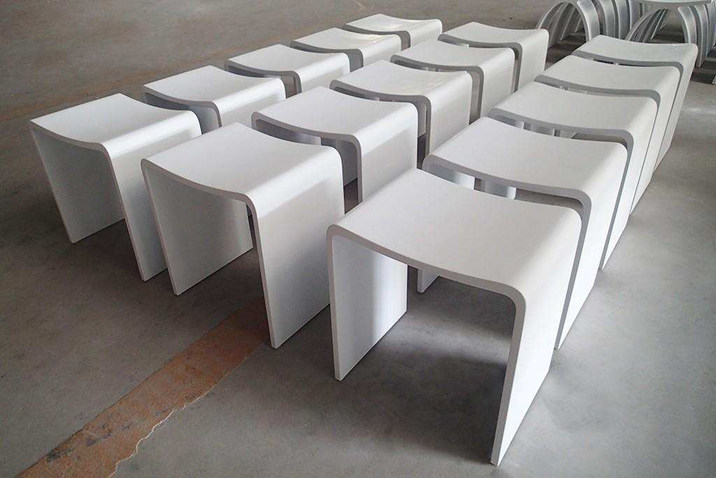Best-selling Acrylic Solid Surface Bathroom Stool With Kinds Of Color For Choice KKR-Stool-B-2