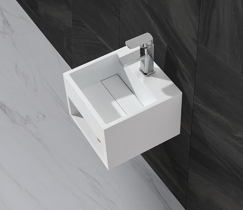 Small Size Artificial Stone Acrylic Solid Surface Square Wall Hang Wash Basin KKR-1360-1