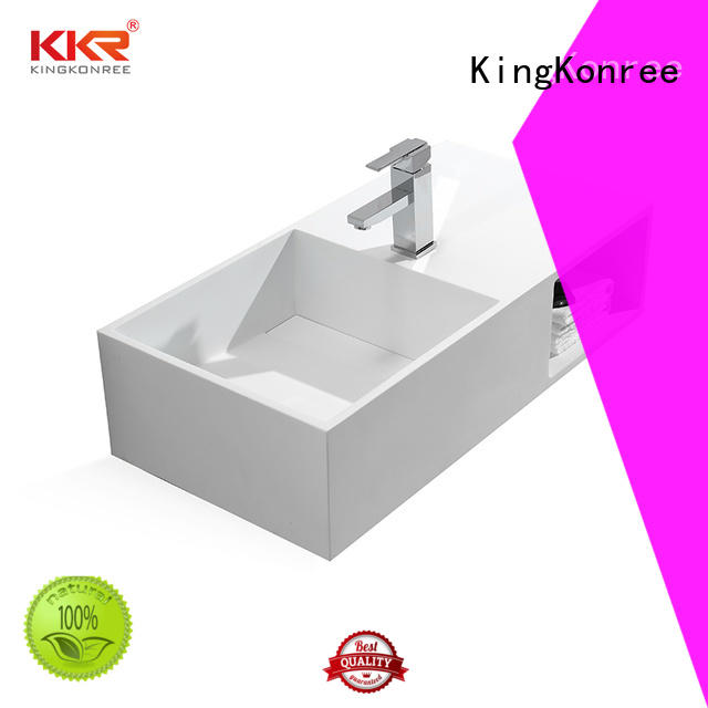 Bath ware acrylic solid surface artificial stone wall mounted wash basin KKR-1369