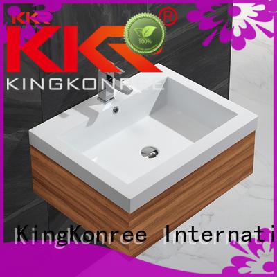 KingKonree smooth countertop basin and cabinet dark for hotel
