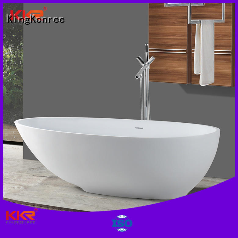 oval Wholesale stone solid surface bathtub KingKonree Brand white shape ellipse