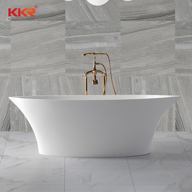 Bathroom furniture polymarble acrylic solid surface freestanding bathtub KKR-B011
