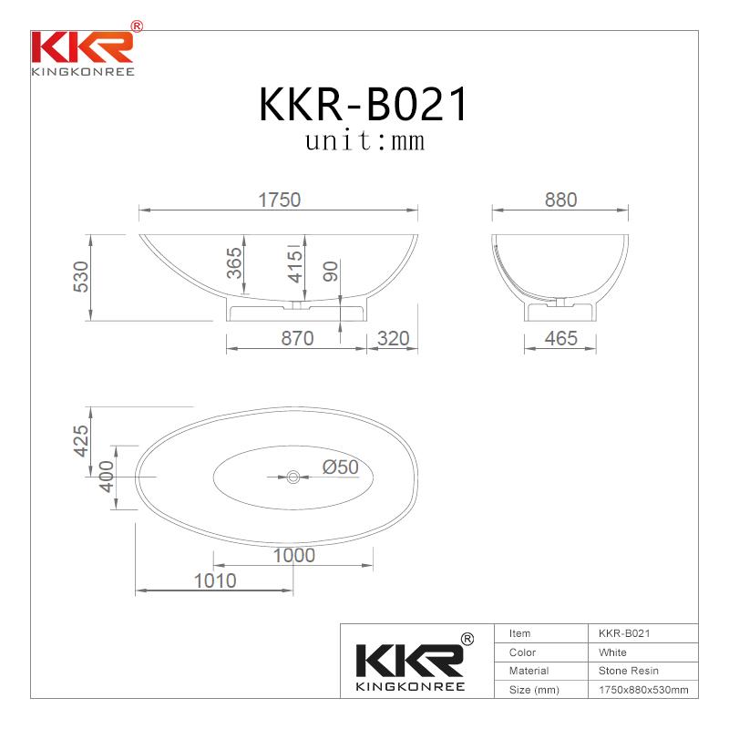 KingKonree Renewable acrylic solid surface stone freestanding bathtub KKR-B021 Solid Surface Bathtub image26