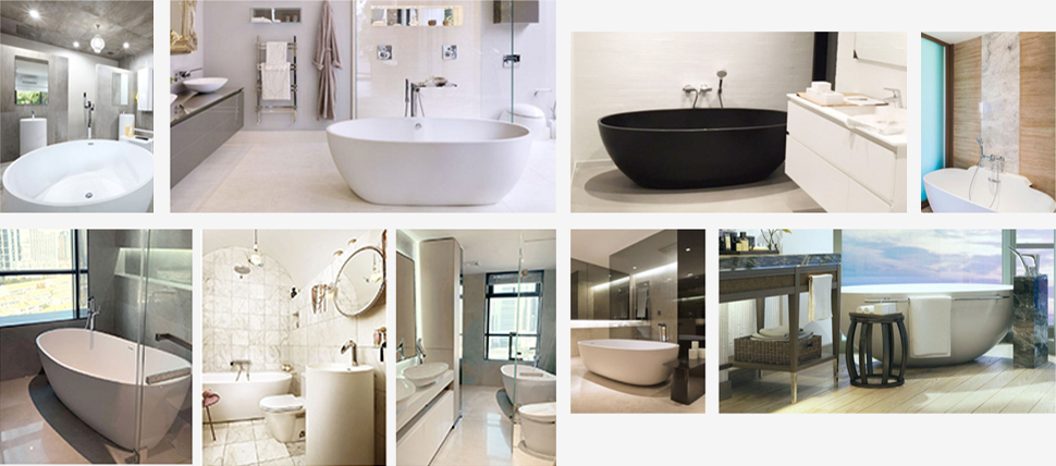 Big Size Rectangle Artificial Stone Acrylic Solid Surface Bath Tub With Length Over 1800mm KKR-B026-11