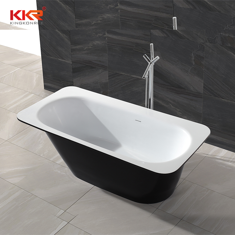 KingKonree Black outside and white inside resin stone solid surface free standing bathtub KKR-B024 Solid Surface Bathtub image25