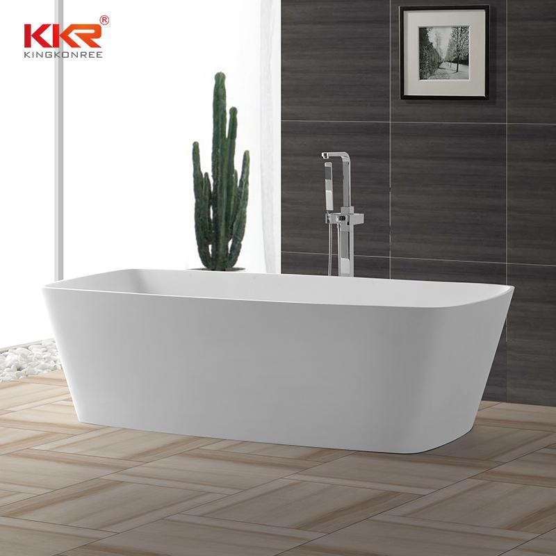 KingKonree Big size rectangle atrifial stone acrylic solid surface bath tub with length over 1800mm KKR-B026 Solid Surface Bathtub image23