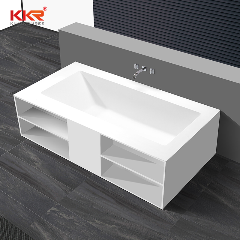 KingKonree Rectangle freestanding solid surface wall against bathtub with storage shelves KKR-B069 Solid Surface Bathtub image21
