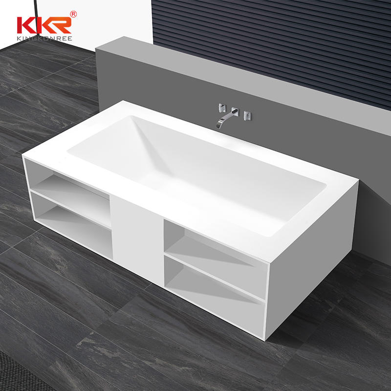 Rectangle freestanding solid surface wall against bathtub with storage shelves KKR-B069