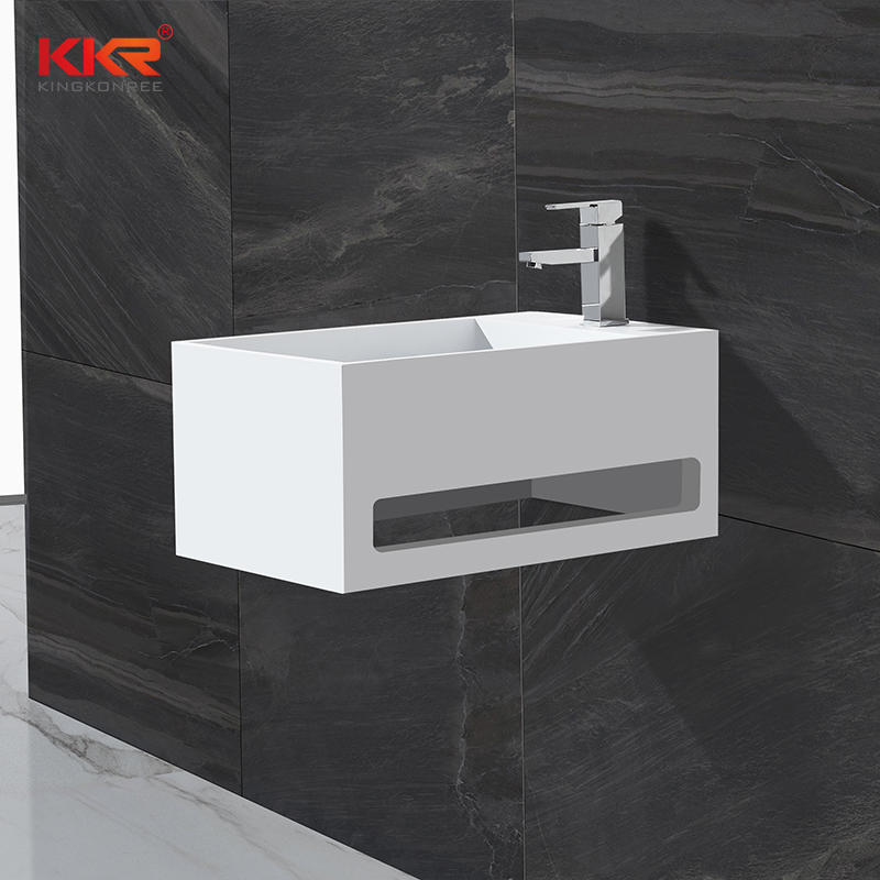 Gran venta tamaño pequeño acrílico superficie sólida resina piedra pared lavabo con toalla percha KKR-1105-A