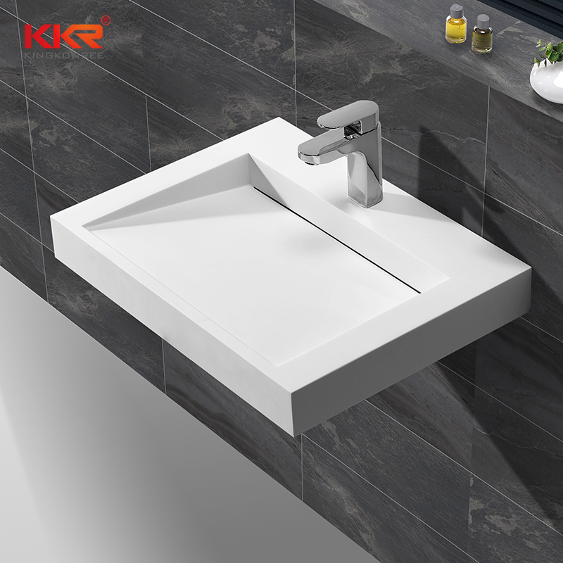 KingKonree Best selling modern design solid surface square wall hung wash basin KKR-1260 Wall Mount Basin image19