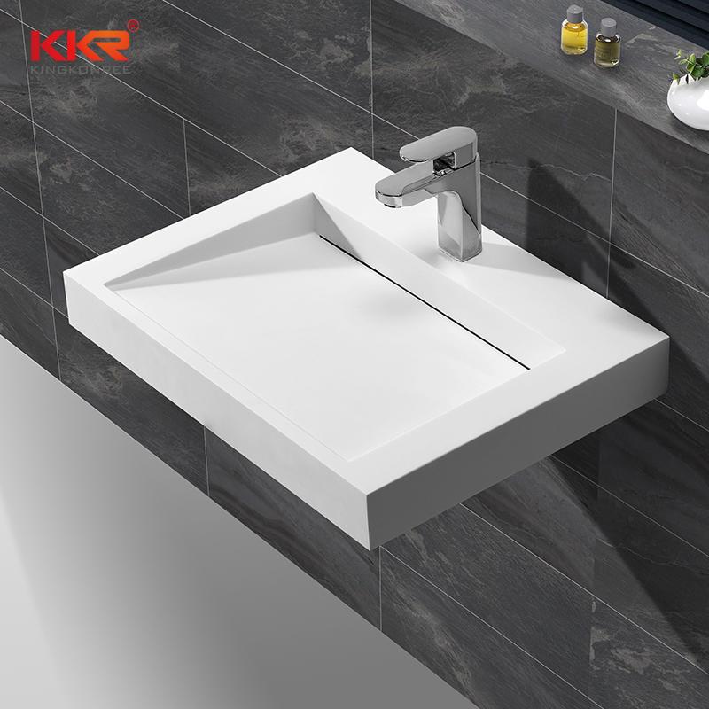 Lavabo colgante de pared cuadrada de superficie sólida de diseño moderno con mejores ventas KKR-1260