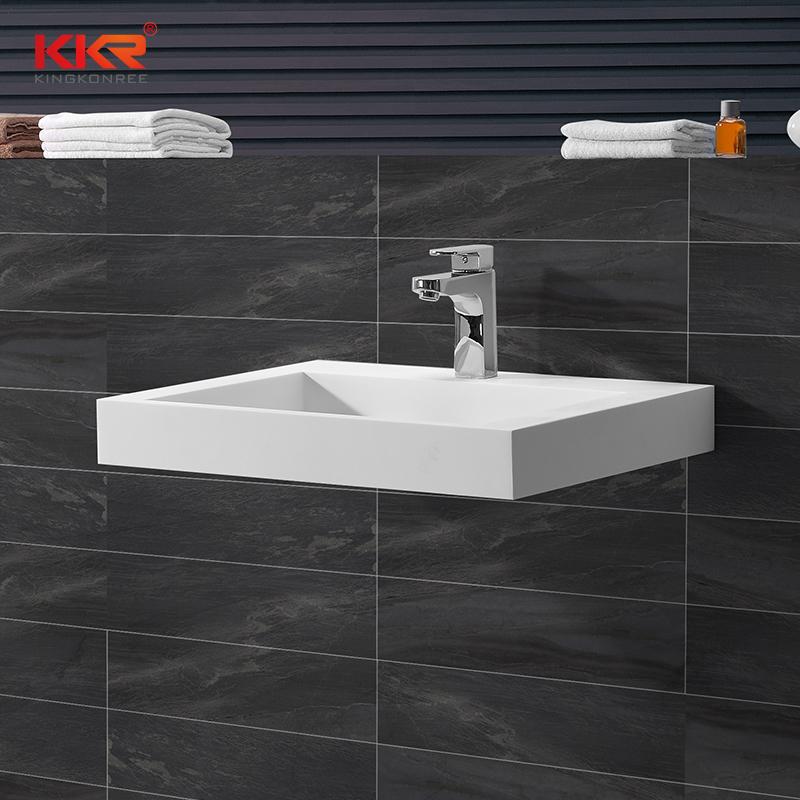 KingKonree Best selling modern design solid surface square wall hung wash basin KKR-1260 Wall Mount Basin image19