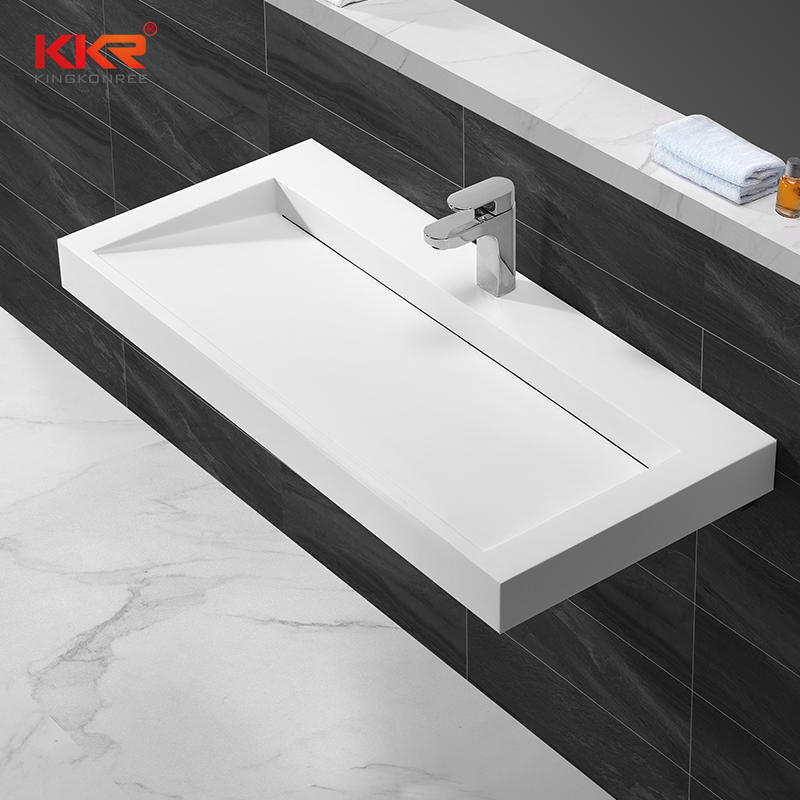Rectangle acrylic solid surface wall hung basin with slope design KKR-1262