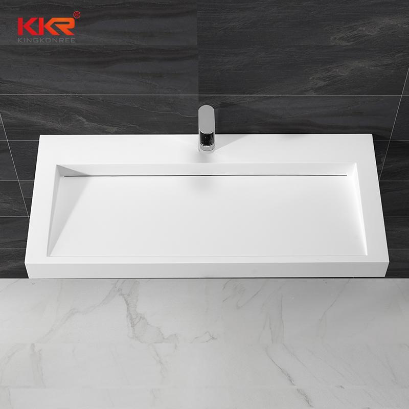 KingKonree Rectangle acrylic solid surface wall hung basin with slope design KKR-1262 Wall Mount Basin image18