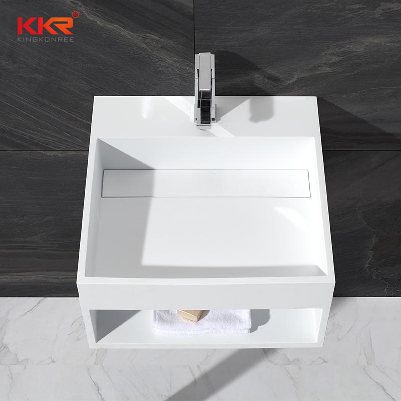 Wall mounted white marble acrylic solid surface square wasb basin KKR-1361
