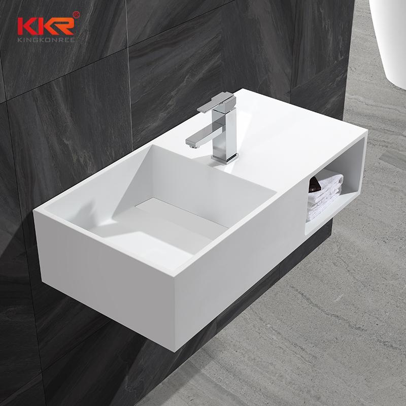 KingKonree Bath ware acrylic solid surface artificial stone wall mounted wash basin KKR-1369 Wall Mount Basin image16