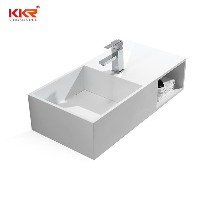 Recipiente de baño acrílico superficie sólida piedra artificial pared lavabo KKR-1369