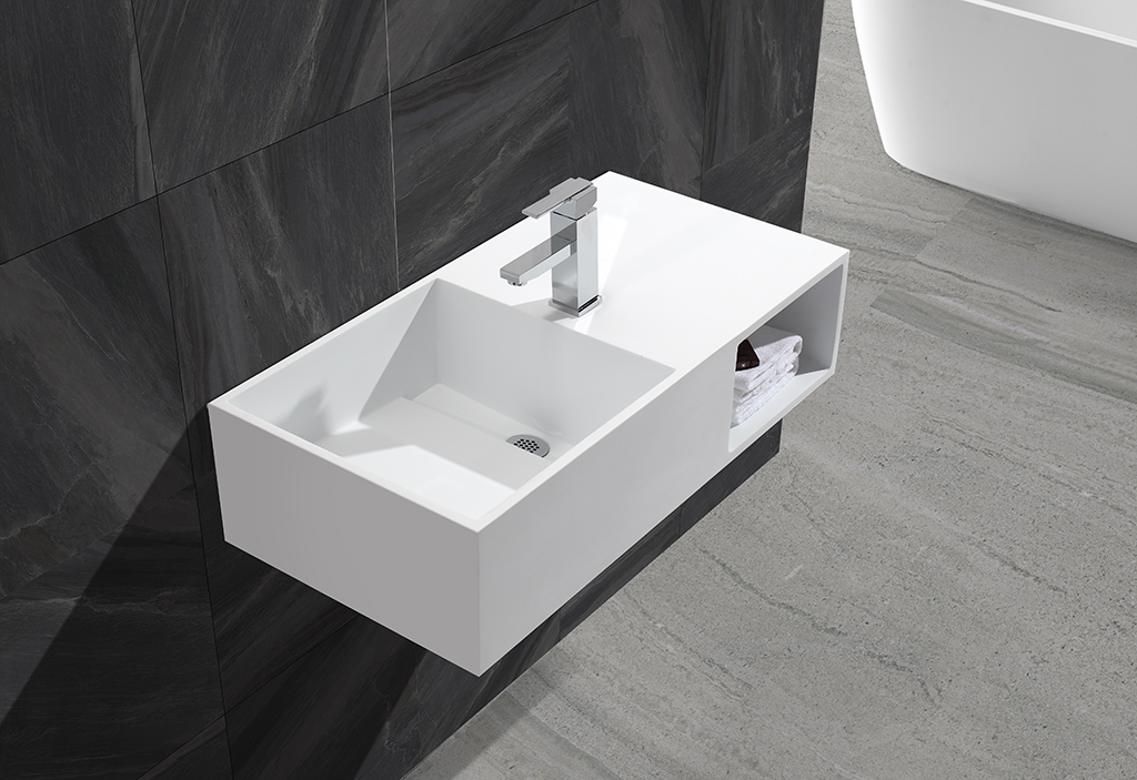 Bath ware acrylic solid surface artificial stone wall mounted wash basin KKR-1369-1