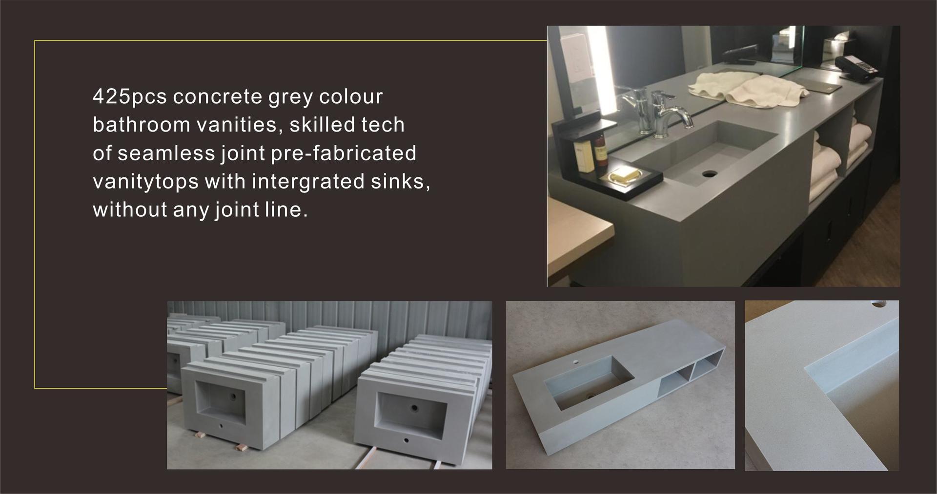KKR Concrete Grey Bathroom Vanities for US Hotel