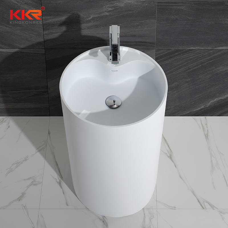 KKR Freestanding Modern Design Solid Surface Stone Bathroom Pedestal Wash Basin With Stand KKR-1380