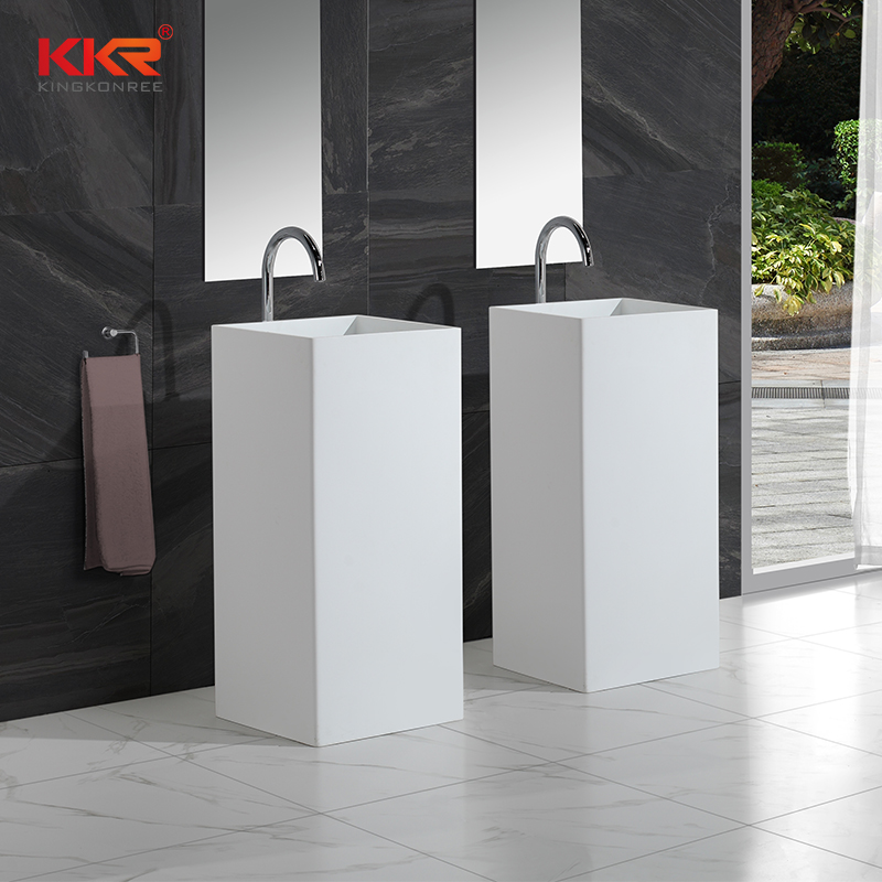KingKonree Good quality square faux stone freestanding wash basin KKR-1382 Freestanding Basin image13