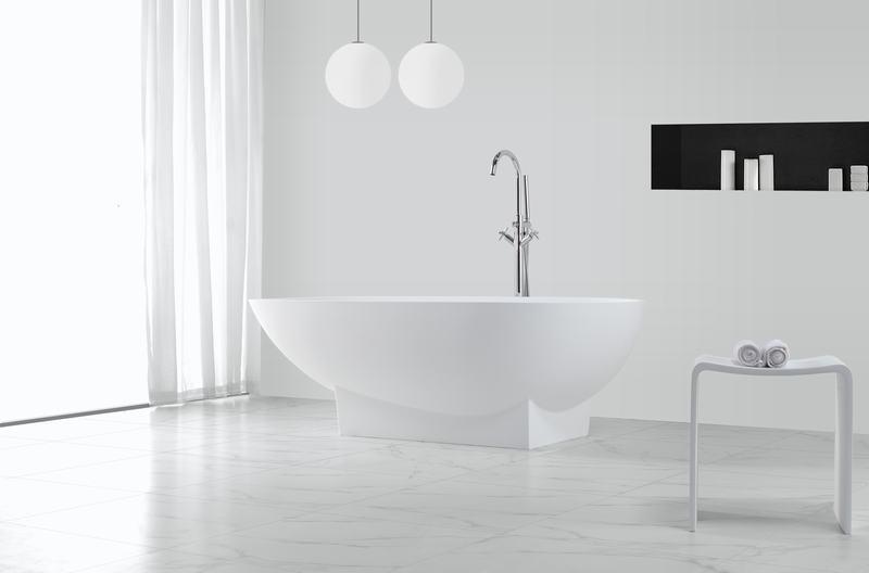 Renewable acrylic solid surface stone freestanding bathtub KKR-B021-1