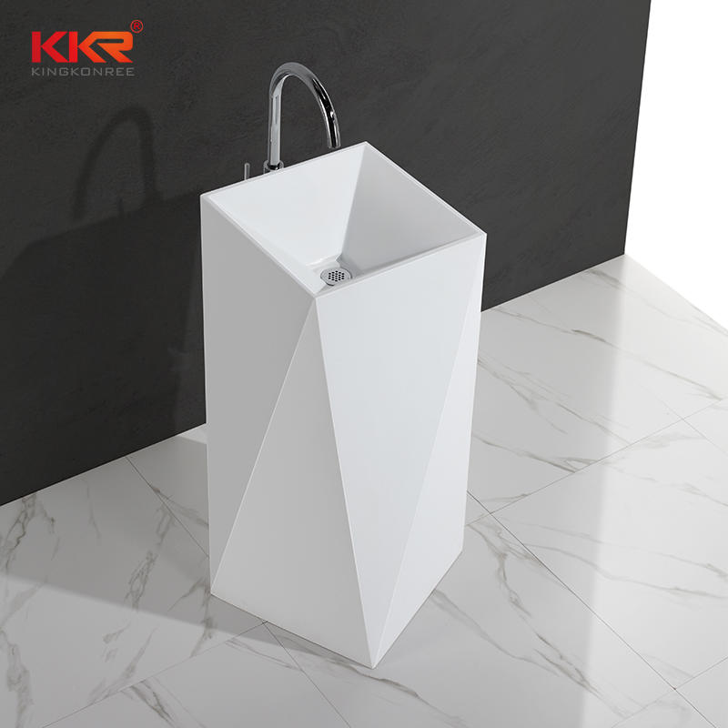 Diamond design white marble acrylic solid surface bathroom wasn basin KKR-1387