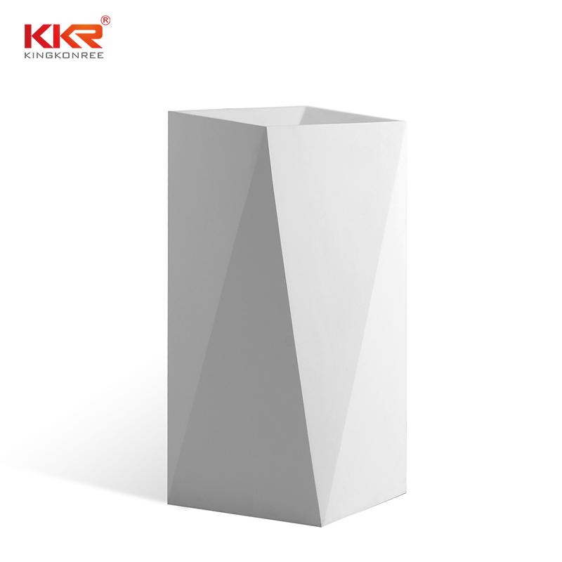 KingKonree Diamond design white marble acrylic solid surface bathroom wasn basin KKR-1387 Freestanding Basin image12