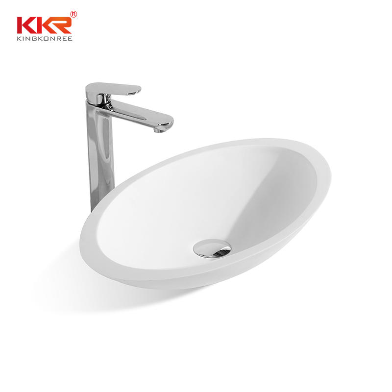 KKR Egg shape acrylic solid surface countertop wash basin KKR-1301