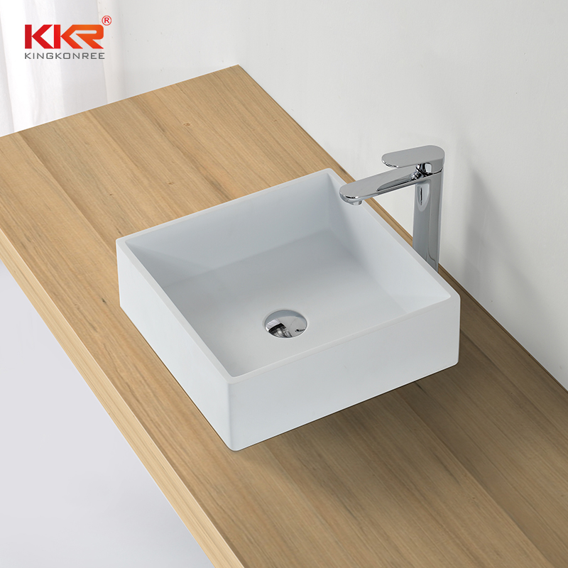 KingKonree KKR High quality pure white square solid surface above counter basin KKR-1382-1 Above Counter Basin image6