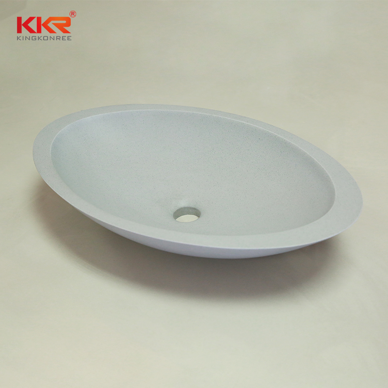 KingKonree KKR Egg shape acrylic solid surface countertop wash basin KKR-1301 Above Counter Basin image8